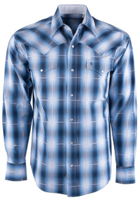 Stetson Blue Dove Ombre Plaid Snap Shirt - Front