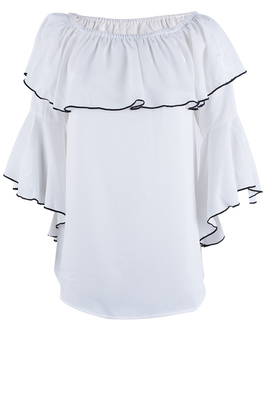 Metric White and Black Ruffled Off-The-Shoulder Top - Front