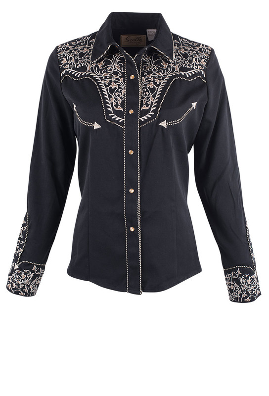 Scully Womens Floral Scroll Embroidered Western Snap Shirt Pinto