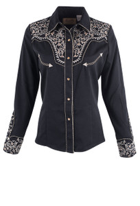 Scully Women's Floral Scroll Embroidered Western Snap Shirt- Front - Black