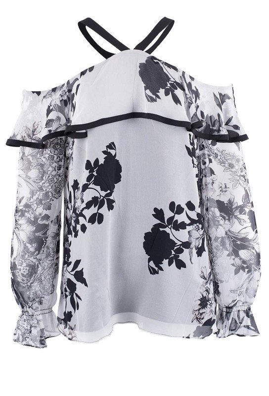 Alberto Makali Floral Black and White Cold Shoulder Top - Front
