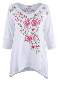 Caite Allegra Embroidered Top - Front
