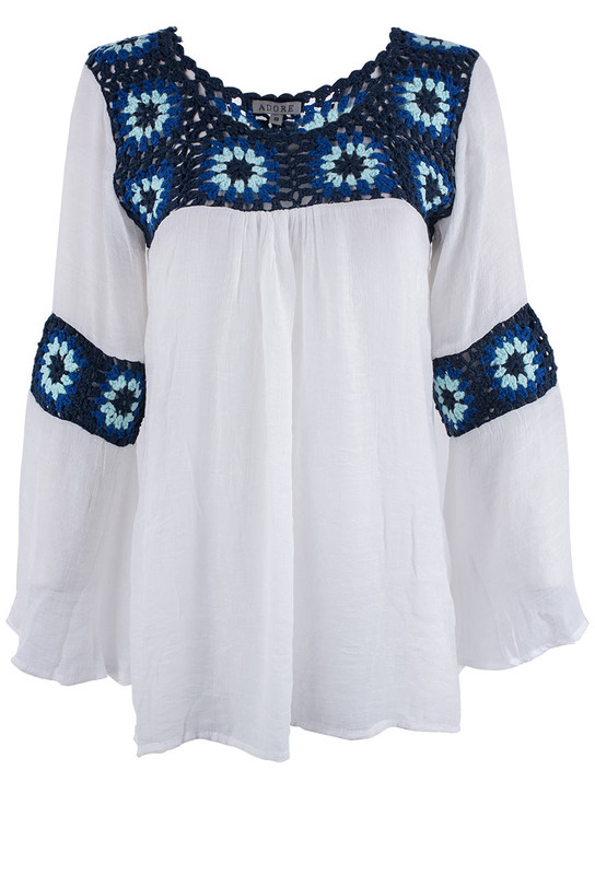 Adore White Top With Blue Crochet And Bell Sleeves - Front