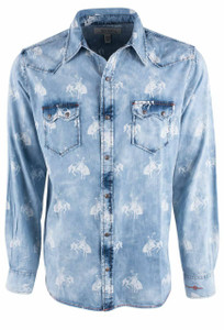 Ryan Michael Bucking Horse Print Indigo Denim Snap Shirt - Front