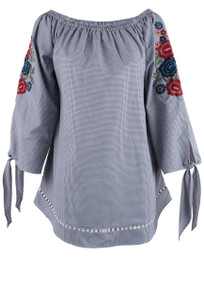 Avani Del Amour Gray Gingham Embroidered Top - Front