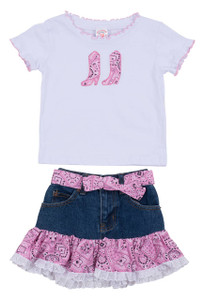 Toddler - Girls Cowgirl Denim Top and Skirt - Front