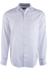 Bugatchi White Fancy Jacquard Shirt - Front