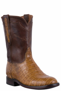 Black Jack for Pinto Ranch Men's Burnished Saddle Tan Select Caiman Belly Roper Boots
