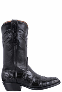 Black Jack for Pinto Ranch Men's Black Gator Boots - Side