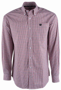 Cinch Red and Black Graph Check Shirt - Front