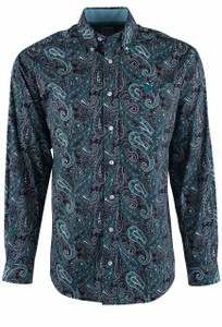 Cinch Black and Teal Paisley Print Shirt - Front