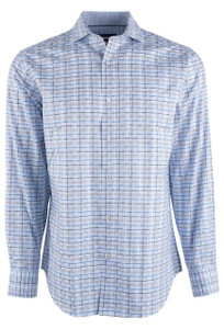 Bugatchi Sky and Sand Fancy Plaid Shirt - Front