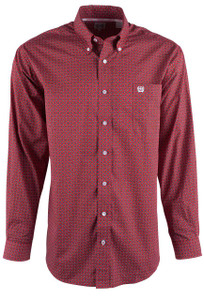 Cinch Red Mini Foulard Print Shirt - Front