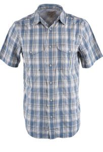 Filson Blue and White Moss Plaid Twin Lakes Short Sleeve Sport Shirt - Front
