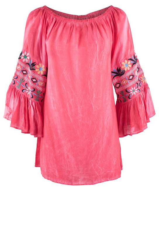 Avani Del Amour Coral Embroidered Sleeve Top - Front
