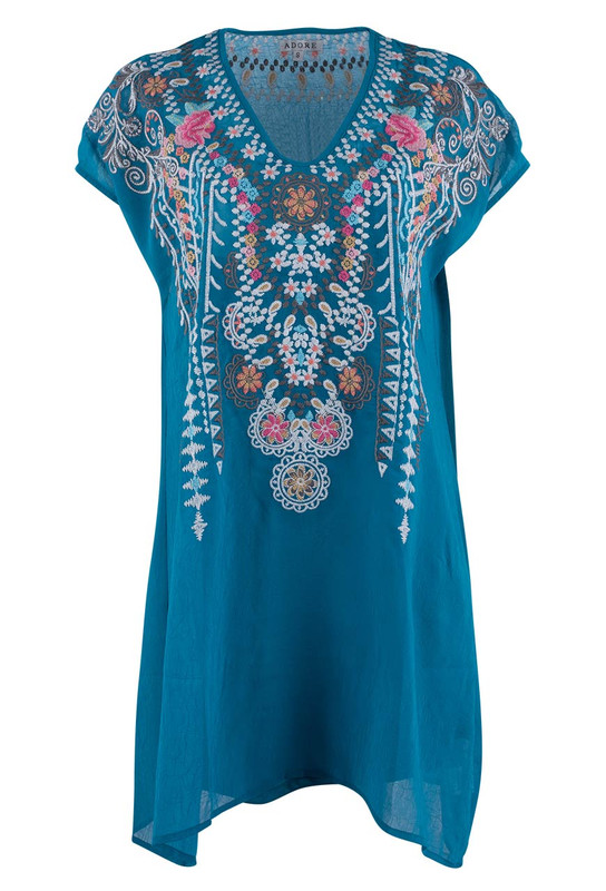 Adore Turquoise Embroidered Top - Front