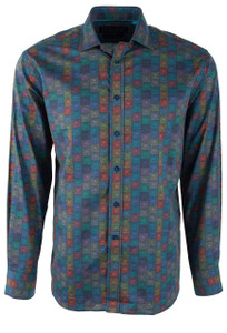 David Smith Australia Pine Cubes Grain Print Shirt - Front