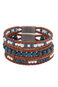 Wrapped to Wear Apatite and Larimar Boho Bangle Set - Front