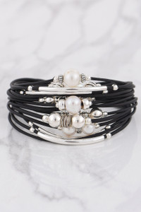 Wrapped to Wear Silver and Pearl Scatter Wrap Bracelet - Front