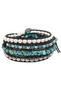 Wrapped to Wear Turquoise and Silver Spiral Wrap Bracelet - Front