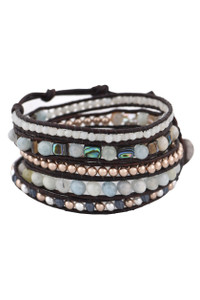 Wrapped to Wear Aquamarine and Abalone Spiral Wrap Bracelet  - Front