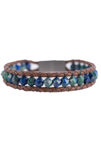 Wrapped to Wear Lapis Nugget Boho Bracelet - Front