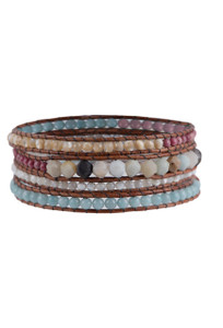 Wrapped to Wear Amazonite and Rhodonite Spiral Wrap Bracelet - Front