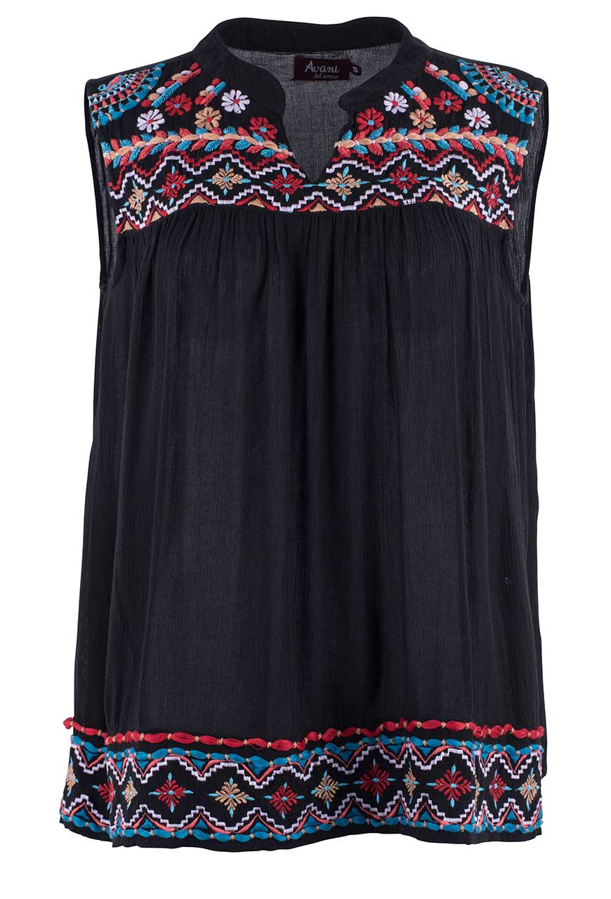 AVANI DEL AMOUR BLACK SLEEVELESS EMBROIDERED TOP