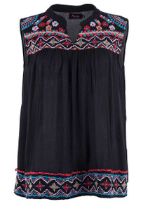 Avani Del Amour Black Sleeveless Embroidered Top - Front