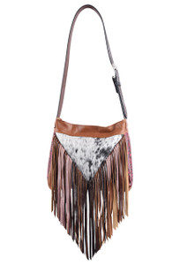 Valentine Western Leather Fringe Bag by Fringe Hill With Genuine Hair and Embossed Leather