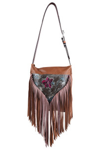 Floral Western Leather Fringe Bag by Fringe Hill With Embossed Leather