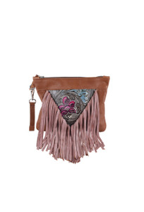 Floral Western Leather Fringe Clutch Wristlet by Fringe Hill With - Front