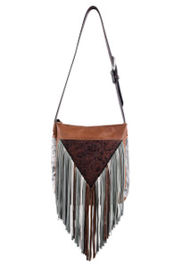 Tooled Floral Western Leather Fringe Bag by Fringe Hill With Embossed Leather and Genuine Hair
