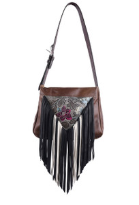 Dark Floral Western Leather Fringe Bag by Fringe Hill With Embossed Leather - Front