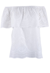 Metric White Caped Eyelet Top - Front