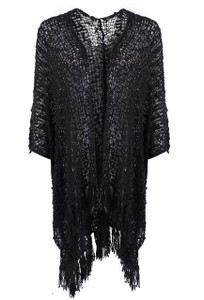 Lost River Sequoia Fringe Cardigan - Black - Front