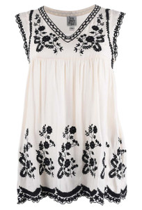 Ivy Jane Cream and Black Embroidered Tunic Top  - Front