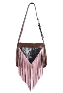 Pink Mini Western Leather Fringe Bag by Fringe Hill With Genuine Hair
