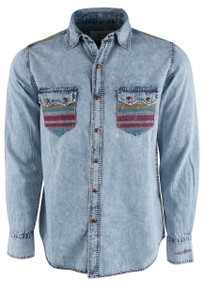 Ryan Michael Indigo Serape Embroidered Snap Shirt - Front