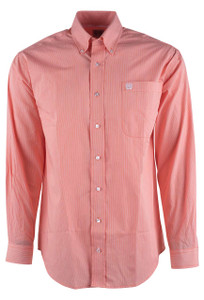 Cinch Orange Stripe Print Shirt - Front