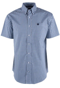 Cinch Short Sleeve White Check Print Shirt - Front