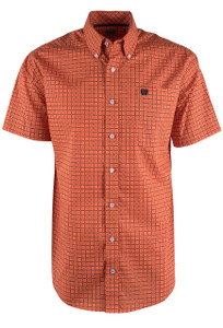 Cinch Short Sleeve Orange Link Print Shirt - Front