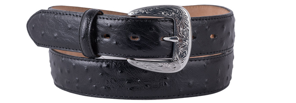 Black Ostrich Dress Belt