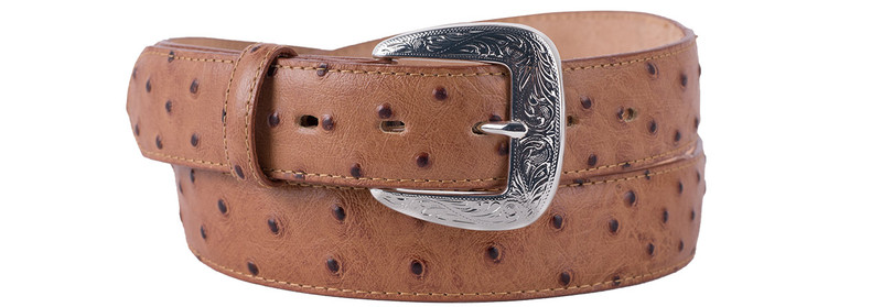 Peanut Ostrich Dress Belt