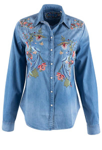 Grace in L.A. Bird of Paradise Denim Shirt - Front