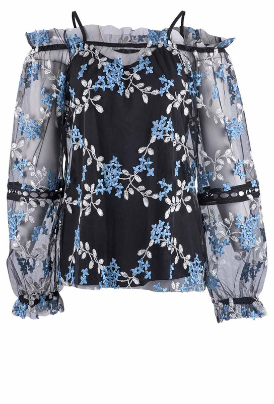 Alberto Makali Floral Embroidered Mech 2pc Top -Front