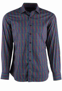 David Smith Australia Berry Stepped Print Sport Shirt - Front
