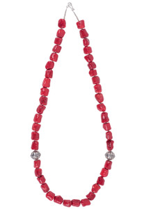 Ticklebutton Jewels Long Coral and Sterling Silver Necklace - Front