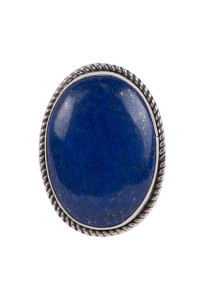 Turquoise Moon Oval Lapis Ring - Size 8 1/4 - Front