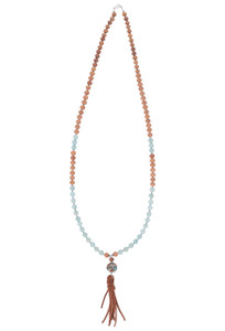 Breathe Deep Designs Sandalwood, Amazonite and Pyrite Tassel Necklace - Front